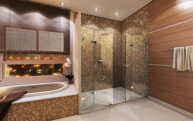 Box Moderno para Banheiro  Acrílico e Alumínio  Construdeia # Banheiro Moderno Com Box