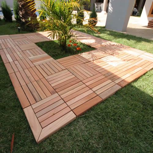 aplicacao deck jardim:Decks Modulares de Madeira – Pisos e Revestimento