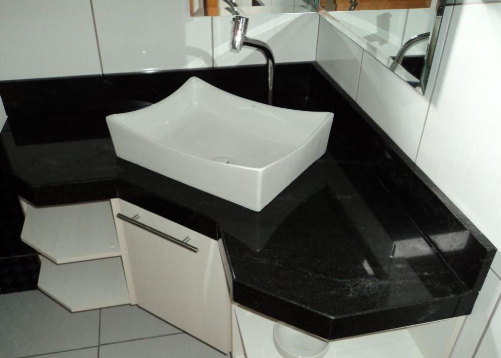 Mármore e Granito em Banheiro  Pia e Pisos  Construdeia -> Cuba Pia Banheiro Granito