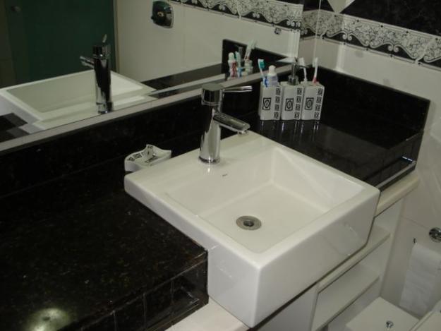 Pia de Banheiro em Granito  Pedra e Mármore  Construdeia -> Cuba Pia Banheiro Granito