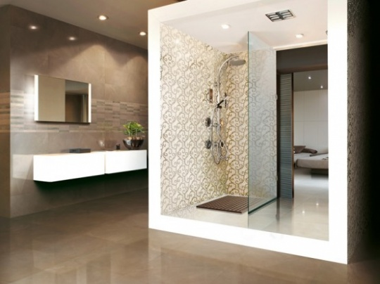 Piso para Banheiro Moderno  Acabamento e Revestimento  Construdeia -> Banheiros Modernos Pisos