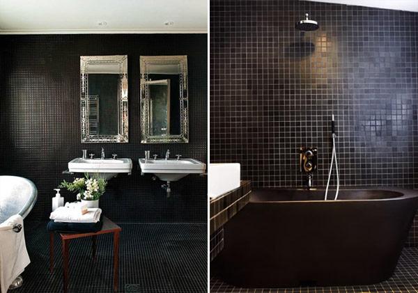 Piso para Banheiro Moderno  Acabamento e Revestimento  Construdeia -> Banheiros Modernos Na Cor Preta