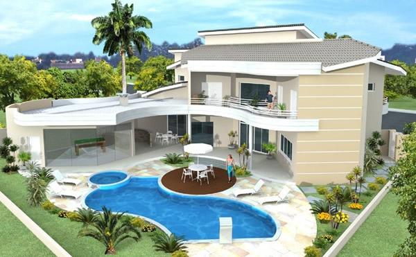 Projeto de sobrado com piscina moderna for Modelos de piscinas modernas