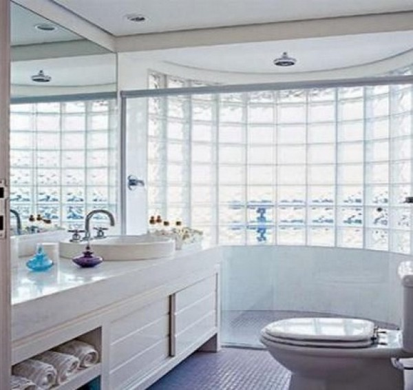 Tijolo de Vidro para Banheiro  Parede e Blocos  Construdeia # Armario De Banheiro Com Tijolo De Vidro
