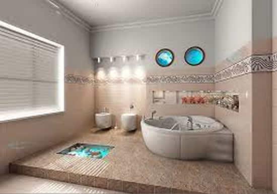 Piso para Banheiro Moderno  Acabamento e Revestimento  Construdeiacom -> Banheiros Modernos Pisos