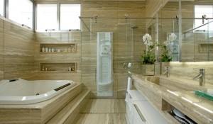 Banheiro com Mármore Travertino