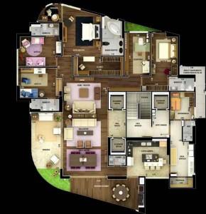 Planta de Apartamento de Luxo