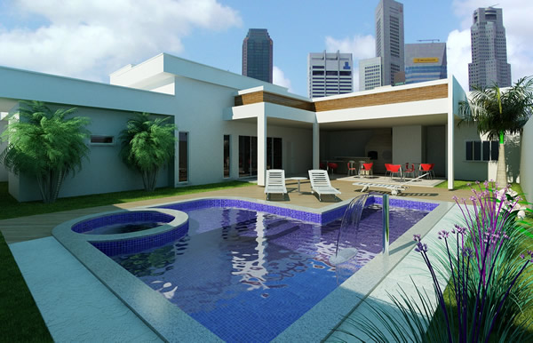 Piscinas residenciais modernas oval e quadrada for Plantas para piscinas