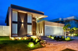 Fachada de Casas Modernas com Telhado Embutido Escondido