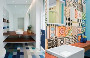 Banheiro com Azulejo Hidráulico