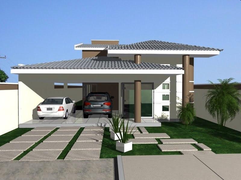 Fachada de casa com telhado modelos e modernos for Modelo de fachada de casa
